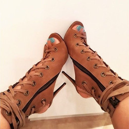 $enCountryForm.capitalKeyWord Canada - Hollow OUts Sexy High Heel Booties Brown Lace Up Women Ankle Boots Open Toe Gladiator Motorcycle Boots 2016 Summer Shoes Woman Plus Size 42