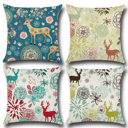 christmas pillows Canada - Christmas Style Reindeer Pillow Case XMAS Theme Deer Printing Pillow Cover Home Sofa Chair Linen Home Textiles Cushion Cover Xms Gift