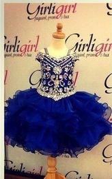 $enCountryForm.capitalKeyWord Canada - Lovely Royal Blue Crystals Girls Pageant Dresses 2016 Little Girls Ball Gowns Mini Ruffles Organza Cheap Princess Cupcake Ritzee Girl Dress