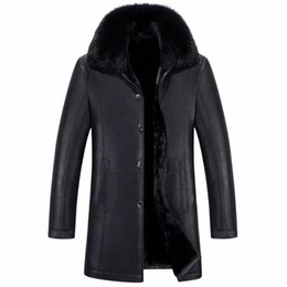 Wholesale long black fur rabbit coat men resale online - Male PU Leather Jackets Fur Inside Winter Outwear Coats Real Rabbit Fur Collar Snow Long Jackets Outdoor Overcoat Warm Thickening XL