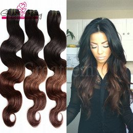 Discount two tone dip dyed hair Greatremy® 8A 3pcs lot Ombre Dip Dye Two Tone #1B 4 Malaysian Virgin Human Hair Extensions Human Hair Weave Weft Wavy Bo