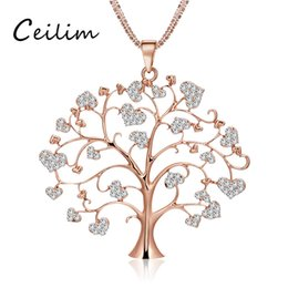 Barato Camisolas Longas Elegantes-Elegant Flower Tree Of Life Sweater Chain Necklace para mulheres Long Love Heart Colar de pingente de cristal Rose Gold Color Fashion Jewelry Lover