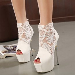 Platform Boots Wedding Shoes Canada - High Heels White Stiletto Shoes Women Platform Open Toe Summer Style Boots Sexy Black Fashion Sandals Online