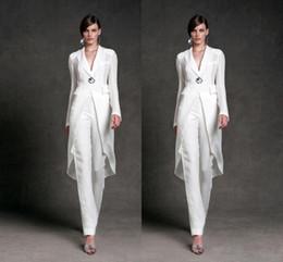 Modest Chiffon Kleider für die Brautmutter Hosen Anzüge V-Ausschnitt Lange Ärmel Formelle Abendkleider Knöchellang Mutter der Braut Anzüge
