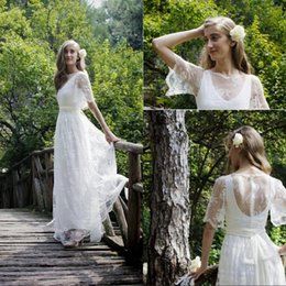 $enCountryForm.capitalKeyWord Canada - High Quality A Line Jewel Floor Length Ivory Lace Beach Wedding Dresses With Short Sleeve Sheer Back Outdoor Bridal Wedding Gowns