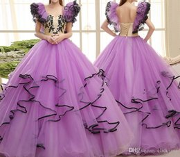 Barato Vestido De Bola De Renda Roxa-Light Purple Dress Up Dressant Vestido de Baile Ruffles Appliques Camadas Tulle Flower Girl Vestido Crianças Voltar Lace Up Children Party Dresses
