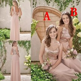 Barato Longo Strapped Vestidos De Noiva-Rose Gold Sequined Vestidos de dama de honra Cheap Sequins Long Chiffon Halter A Line Straps Ruffles Blush Pink Maid Of Honor Wedding Guest Dresses