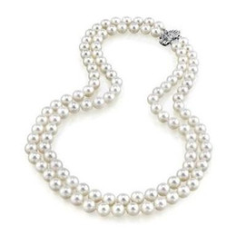 Pearl Double Strand UK - Noble double strands 9-10mm south seas white pearl necklace 18-20inch 925 silver clasp