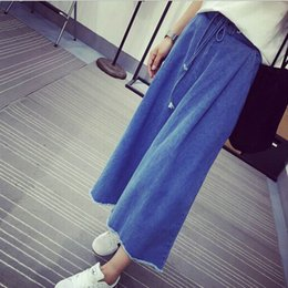 Barato Fotos Da Cintura Meninas-Venda por atacado - foto real New Wide Leg Pants Mori Girl estilo coreano New Elastic Waist Bow Trousers for Women Loose Denim Pants Jeans brand