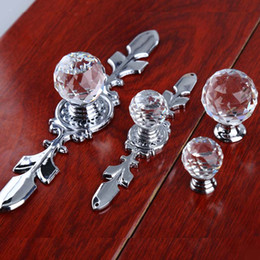 Chinese  Fashion deluxe clear crystal dresser kitchen cabinet door handles silver glass drawer cupboard knobs pulls modern simple chrome manufacturers