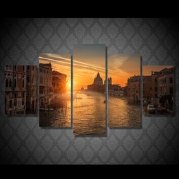 City Canvas Prints NZ - 5 Pcs Set Framed Printed Sunset Soak City Painting Canvas Print room decor print poster picture canvas Free shipping ny-5015