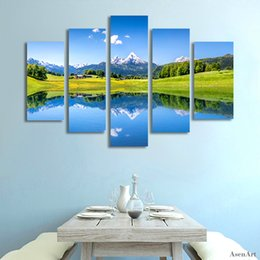$enCountryForm.capitalKeyWord Canada - 5 Panel Nature Landscape Painting Snow Mountain Lake Scenery Wall Art Picture Home Decoration Living Room Canvas Print Unframed