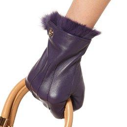 $enCountryForm.capitalKeyWord Australia - Wholesale- Fashion 2017 Promotion Winter Gloves Genuine Leather Women Rabbit Hair Wrist Solid Real Sheepskin Glove Free Shipping El003pr