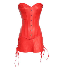 7d75300149 Wholesale-Women Corset Tops Plus Size Faux Leather Lingerie Clubwear 6XL PU  Red Overbust Corset Cheap Steampunk Waist Cincher With Skirt