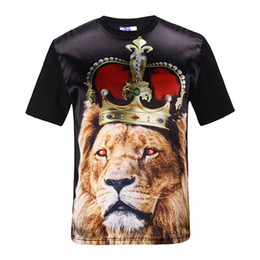 Chinese  tshirt Lion King Men women 3d t-shirt slim tops golssy rayon front print crown lion harajuku tee shirts Asia S-XXL manufacturers