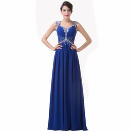 Chinese  Off the Shoulder A-Line Prom Dress 2019 Crystal Sparking Beading Party Dress Backless Long Chiffon Evening Dresses Royal Blue Formal Gowns manufacturers