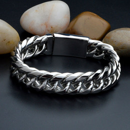 Twisted Steel Jewelry Canada - Exaggerated Men Twisted Pulseras Titanium Steel Bracelets Wristbands Bangle Male Jewelry Punk Brace lace High Polished Silver