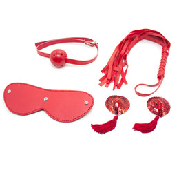Harnais Sex-male Pas Cher-Nouveau SM Fetish Bondage Kit Ensemble de retenue Blindfold Esclave Tête Harness Mouth Ball Gag Whip Nipple Autocollant Sex Toys