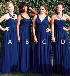 $enCountryForm.capitalKeyWord Canada - 3 Styles Navy Blue Bridesmaid Dresses Chiffon Floor Length Long Maid Of Honor Wedding Guest Dresses Custom Dresses Summer Beach Gowns