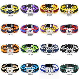 Vente en gros Fashion Footbal Team Charme Bracelet de survie Paracord Sport Amitié Camping en plein air Bracelets Mix couleur 50 pcs DHL