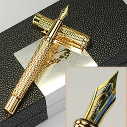 high quality crocodile M nib Gold metal fountain pen school office stationery Luxury writing birthday gift ink pens A6