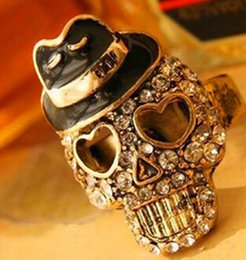 Discount cute rings for fingers - Skull Head Ring Retro Cute Shinning Finger Ring Jewelry Alloy For Women Open Rings Wholesale New