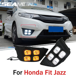 Car DRL For Honda Fit Jazz 2013 2014 2015 2016 2017 Daytime Running Lights Fog Lamps LED Turn Signals Light Auto Accessories