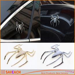 chrome car emblems animals 2019 - New Decal Sticker 3D Spider Car Truck Motor Metal New Cute Shape Emblem Chrome Free Shipping cheap chrome car emblems an