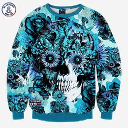 Chinese  Hip Hop Skulls printing men women 3d sweatshirt print blue roses Sunflower and butterfly long sleeve hoodies autumn pullover manufacturers