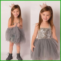 Lace Clothing Canada - one-piece summer girls dress children formal sequin one-piece tulle grey lace gown girl clothing dresses 2016 free shipping