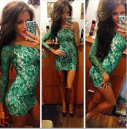 Floral Lace Green Canada - Newest Green Lace Women Bandage Dress 2016 Fashion Lace One Shoulder Long Sleeve Party Dress Real Picture High Quality Dress