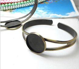 $enCountryForm.capitalKeyWord Australia - Min Order 20pcs Wholesale ANTIQUE BRONZE 20mm Cabochon Setting Disc Adjustable Cuff Bangle and Bracelets Blank Jewelry Settings