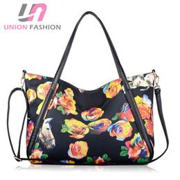 $enCountryForm.capitalKeyWord Canada - New 2016European Style Fashion Women's Handbag with Strap Rose Floral Printing Shoulder Bag High Quality Tote Bags Messenger Bag