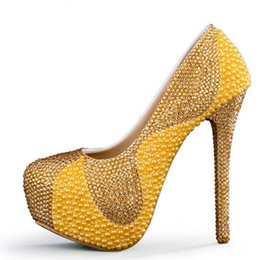 372cf53741e4 New Yellow Wedding Shoes with Pearl and Gold Rhinestone Handmade Sparkling Women  Pumps Bridal Dress Shoes Party Prom Heels