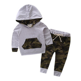 camouflage tracksuit wholesale UK - Autumn 2PCS Newborn Set Infant Baby Clothes Set Camouflage Hooded Tops + Pants Boys Outfits Kids Boys Clothing Sets Baby Boy Tracksuit