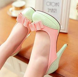 fine girls dresses Canada - Sweet girl students high-heeled shoes fashion shoes and fine documentary Bow Shoes ladies