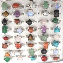 Wholesale Mix Lot Natural Stone Rings Women's Ring Fashion Jewelry Bague 50pcs Free Shipping