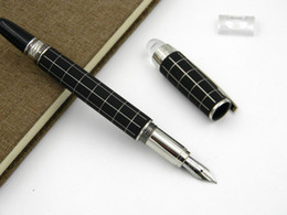 Carbon Fiber Pens Canada - luxurious High-end metal Silver carbon fiber black Crystal Head Rotate classic Plaid pattern M Fountain Pen