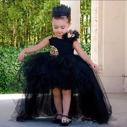 Barato Saia Preta Flor Linha-2018 Black Flower Girls Dresses com ouro Sequined Kids Birthday Ball Gowns com Back Zipper Kids Vestidos formais com Tiered Ruffle Jujeira