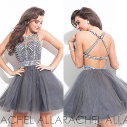 Barato Cockato De Festa De Organza Curto-2017 Cristais New Rachel Allan Vestidos Homecoming Vestidos cocktail Sheer frisados ​​Pedras Top Mini Festa Curto Organza Prom BA3501