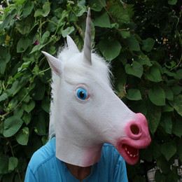 Barato Trajes De Unicórnio Para Adultos-Realistic Unicorn Head Latex Máscaras Full Face Halloween Horse White Mask Masquerade Party Cosplay Fancy Costume Props Tamanho Adulto