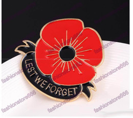 Wholesale quot Lest We Forget quot Enamel Red Poppy Brooch Pin Badge Golden Flower brooches pins Remembrance Day Gift for women