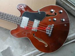Großhandel Brown Semi Hollow Bass Guitar Beste Qualität Neueste Kostenloser Versand