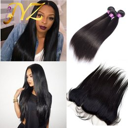 Full Lace Weave Human Hair NZ - 13x4 Full Lace Frontal Closures With 3 Bundles UNPROCESSED Virgin Brazilian Peruvian Indian Malaysian Straight Human Hair Weave