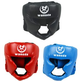 Discount muay thai sparring gear - Free shipping RED BLACK Blue Closed Type Boxing Head Guard Sparring Helmet MMA Muay Thai Kick Boxing Brace Head Protecti