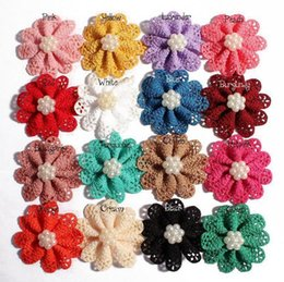 New Mini hollow out pearl flower alloy pearl headdress flower Baby girl hair  ribbon accessories shoes flowers 16 colors 1585 e82662c307cc
