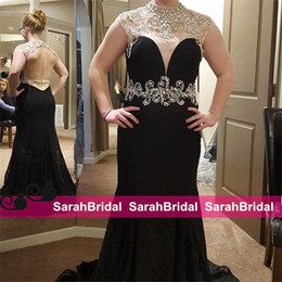 $enCountryForm.capitalKeyWord Canada - Black Full Lace Prom Formal Dresses with Beaded Pearls High Collar and Sheer Sleeved Charming Open Back Fit to Flare Long Evening Gowns