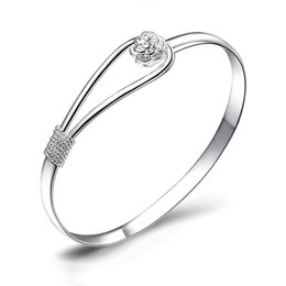 $enCountryForm.capitalKeyWord Australia - 925 sterling silver Romantic flower Bangles Fashion Charm bracelets set 925 silver women tibetan Bangle bridal jewelry