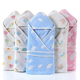 newborn hooded blanket NZ - Newborn Baby Swaddle Blanket Baby Cotton Soft Receiving Baby Blankets Newborn Infant Kids Bath Towel Envelope Hooded Kids Gift 90*90cm