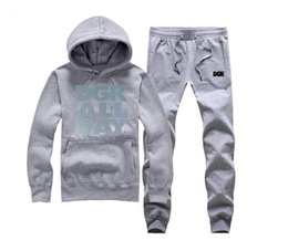 New Arrival Men Moda Hoodies + calças DGK suor (S-5XL) Leather Sleeve Sólidos camisola Slim Fit Male Primavera